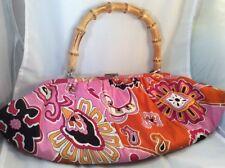 Banana Republic Handbag Purse Bamboo Handle Pink Orange Excellent Condition BoxE