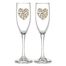 Geo Heart Personalized Wedding Toasting Flutes (54849)
