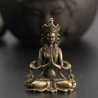 Solid Copper Buddha Statue Ornament Miniature Figurines Home Office Table Decors