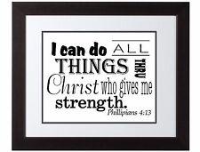 Philippians 4:13 Scripture Art Bible Verse Inspirational print poster white