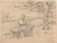 Dessin crayon plume Louis Emile Adan 1839 1937 peintre