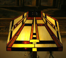 "14.5""W Mission style Stained Glass Handcrafted Zinc Base Table Desk Lamp"