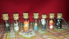 Set of 7 Studio Ghibli characters in mini glass bottles. Totoro. Soot sprites.