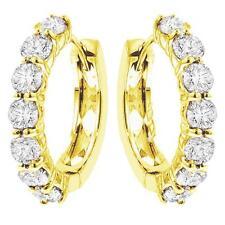 3.00 CT TW Large Diamond Hoop Earrings in 18k Yellow Gold G SI New