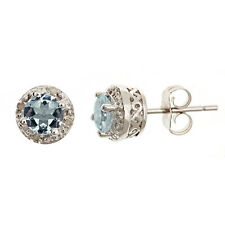 .85CT AQUAMARINE DIAMOND HALO STUD EARRINGS 5mm ROUND SILVER MARCH BIRTHSTONE