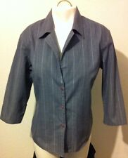 Spoiled Girl Gray & White Pinstripe Collared Button Up Shirt Top Size Large