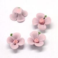 100 Pcs Flower Handmade Porcelain China Clay Thistle Beads 14~14.5x13~14x7~8mm