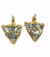 Roman Glass Fragments Ancient 200 B.C Dangle Gold P. Earrings Holy Land