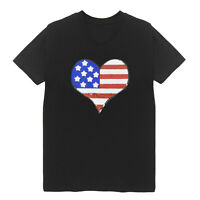 USA Flag Heart Women's V Neck T-Shirts Plus Size Handmade Cotton Bling Patriot