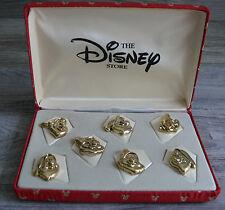 Disney Store Seven Dwarfs Pins Gold Tone Boxed Set Red Storage Box Collectors