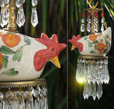 Porcelain chicken fruit SWAG Lamp brass crystal Dining Chandelier beads prism
