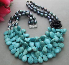 """18"""" 3 Strds Black Pearl Blue Turquoise Resin FlowerNecklace"""