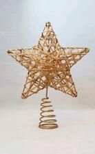 "Star Tree Topper Small Gold Rattan Christmas Natural 6"" Kurt Adler"