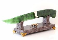 Hand Carved Russian Nephrite Jade Stone Knife Anorthosite Labradorite Stand 10""