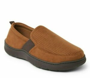 Dearfoams Cozy Comfort Men's Perforated Aline Slippers BROWN 9-10,11-12