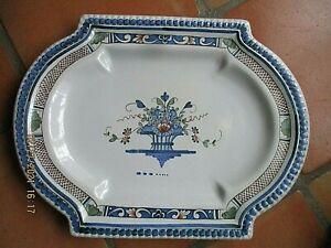 Grand plat en céramique ancienne  décor Rouen-45 cm x 34 cm