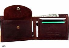 Men's Genuine Leather wallet 4 Credit Card Slots 1 Bill Compartment Bifold brown
