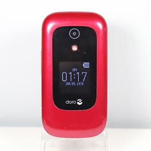 Doro 7050 (Consumer Cellular) 4G LTE GSM Flip Phone RED