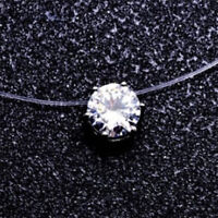 Invisible Transparent Fishing Line Zircon Pendant Necklace Choker Women JewelrTB