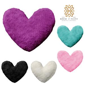 Heart Shaped Teddy Fleece Cushions Super Soft Designer Style Filled Cushions