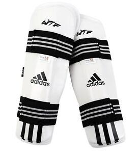 Adidas Men WTF KTA Taekwondo Shin Guards White Black Protector Shin-Pad ADITSP01