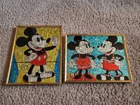 Vintage Disney tin foil pictures(2) Minnie Mouse and Mickey Mouse 8x10