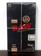 RAW Black Natural Unrefined 1 1/4 (1.25) Rolling Papers~24 Packs~Full Sealed Box