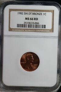 1982 SM DT BRONZE LINCOLN CENT NGC MS66RD