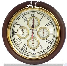 World Time Wooden Wall Clock Nautical Style Home Decor Vintage World Clock