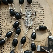 Vintage Italian Immaculate Mary Black Wood Bead Rosary