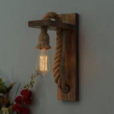 Rope Wall Lamp Wall Light Sconce Fixture Porch Lantern Wooden Hemp Teak Wood