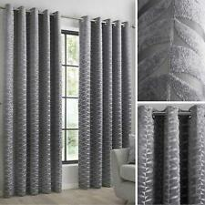 Grey Eyelet Curtains Geometric Chenille Heavy Ready Made Lined Ring Curtain Pair