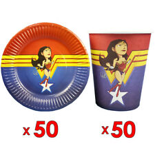 50pcs Paper Plate And 50pcs Cup Wonder WomanTheme Birthday Party Tableware Set