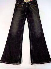 7 per Tutti Donna Slavato Nero Cina Muro Boot Cut Jeans Taglia 26 Carino
