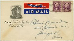 USA 1938 AIRMAIL ETIQUETTE TIED to ILLUSTRATED COVER SMITHS HOTEL BAKERSFIELD