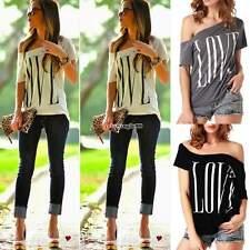 Donne LOVE Manica corta Blusa camicetta camicia maglietta Maglie T-shirt Tops