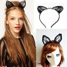 Fancy Black Lace Bunny Cat Ears Headband Hairband for Party Costume Cosplay