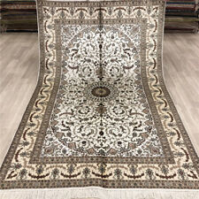 Yilong 5'x8' White Silk Area Rugs Vintage handcraft Hand Knotted Carpets 021B
