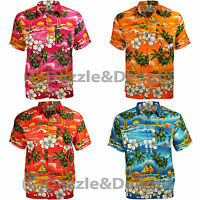 HAWAIIAN SHIRT PARTY FANCY DRESS S XL XXL FLOWER PALM BEACH STAG COTTON FEEL L