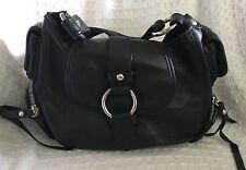 BANANA REPUBLIC Black Leather Small Hobo Handbag Purse Bag-VERY NICE