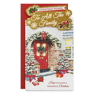 ALL THE FAMILY CHRISTMAS CARD ~ TRADITIONAL DESIGN ~ QUALITY CARD  & NICE VERSE