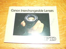 Vintage Canon FD Interchangeable Lenses Information Booklet~VG Condition