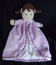 Carters DOLL RATTLE Security Blanket LITTLE SWEETIE Purple Plush Baby Lovey