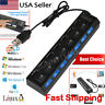 7 - Port USB 2.0 Multi Charger Hub +High Speed Adapter ON/OFF Switch PC Laptop