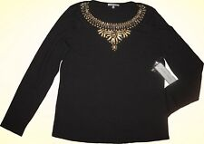 $250 Anne Klein Gold Studded Beaded Black Sweater L