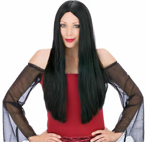 Long Black Adult Wig Costume Accessory One Size NEW Witch Morticia Vampire