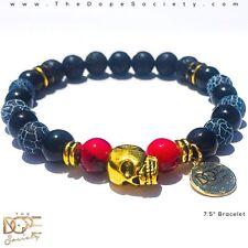 Gold Skull Bracelet, Agate Bead Bracelet, Lava Stone Bead Bracelet, Skull Charm