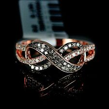 New Ladies Rose 14K Gold Genuine Brown Diamond Ring Infinity Engagement Band