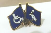 Handicap Wheelchair Icon Man Pelican crossed flags jacket pin