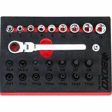 """1/4"""" Drive Low Profile Socket & Stubby Bit Set 25 Pcs BX440-R2 Boxo Tools"""